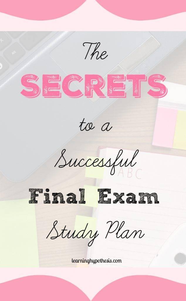 Final Exam Study Plan