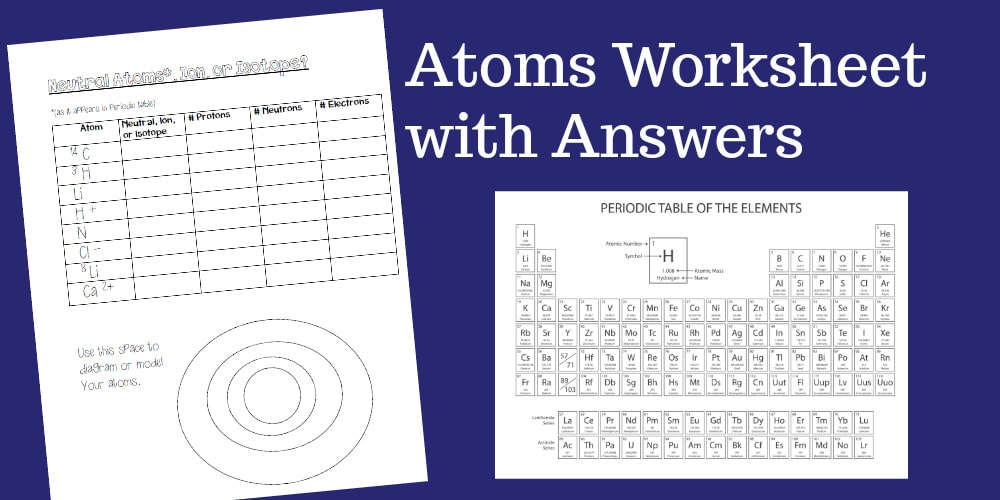 Atoms Worksheet For Middle School Or High