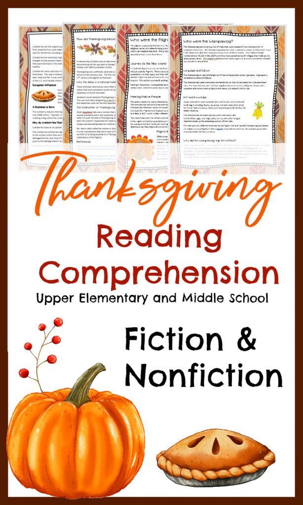 Thanksgiving Reading Comprehension for Upper Elementary and Middle Grades.