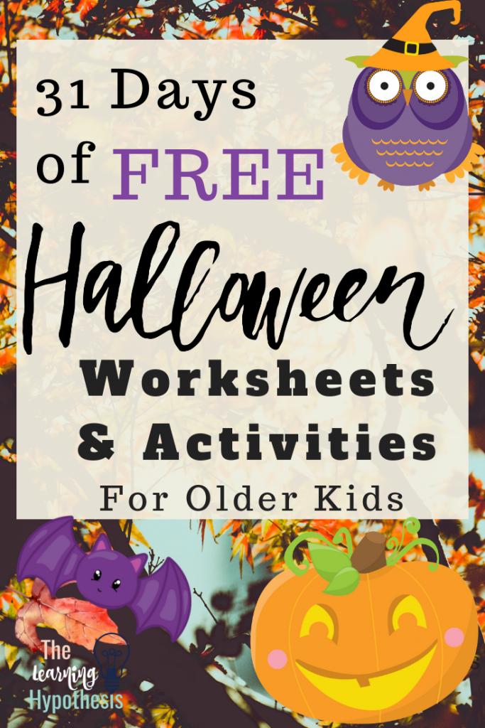 More Halloween Worksheets & Activities for Older Kids